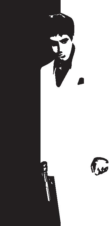 TenStickers. Sticker Al Pacino Scarface. Deze muursticker van Tony Montana gespeeld door Al Pacino in de beroemde film Scarface, willen vast alle fans bezitten.