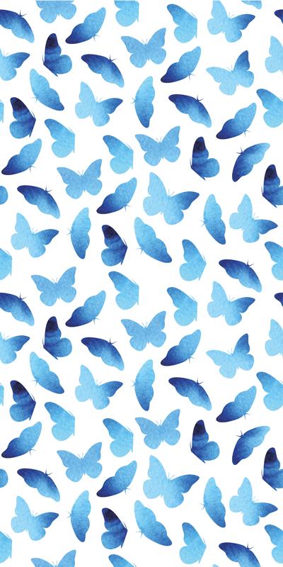 TenStickers. Sticker pour Frigo Papillons peints. sticker frigo de papillons de texture de couleur bleue peinte. Augmentez l'espace dans la porte de votre réfrigérateur, grace à ce design papillon bleu.