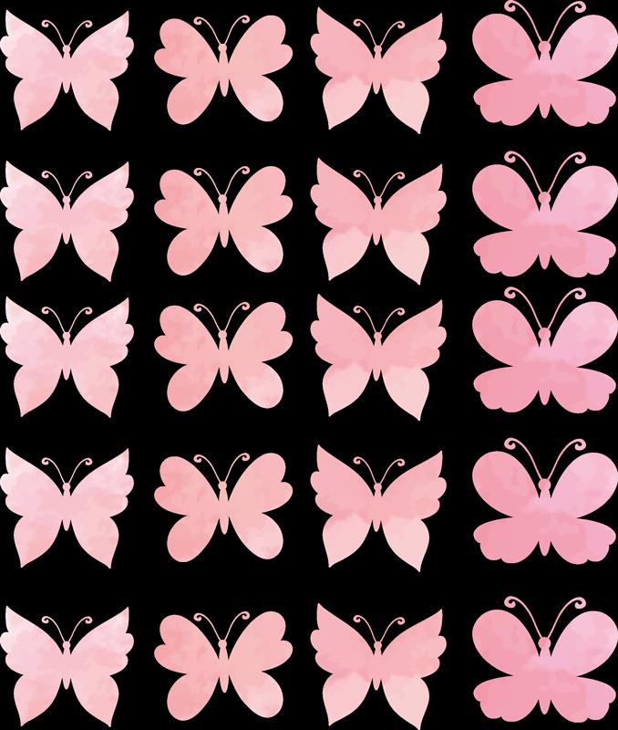 TENSTICKERS. 壁にピンクの蝶の蝶デカール. 家の装飾や他の場所を選択するためのピンクの蝶のビニールステッカー。適用が簡単で、高品質のビニールで作られています。