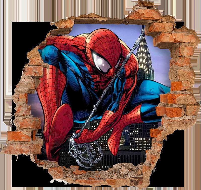 TenStickers. Wandtattoo visuelle Effekte 3D spiderman durch die wand. Dekorativer 3d-superhelden-wandaufkleber von spiderman, der einen backsteinmauerraum durchbricht. Hinter der zerbrochenen mauer hat man einen atemberaubenden blick auf eine stadt.