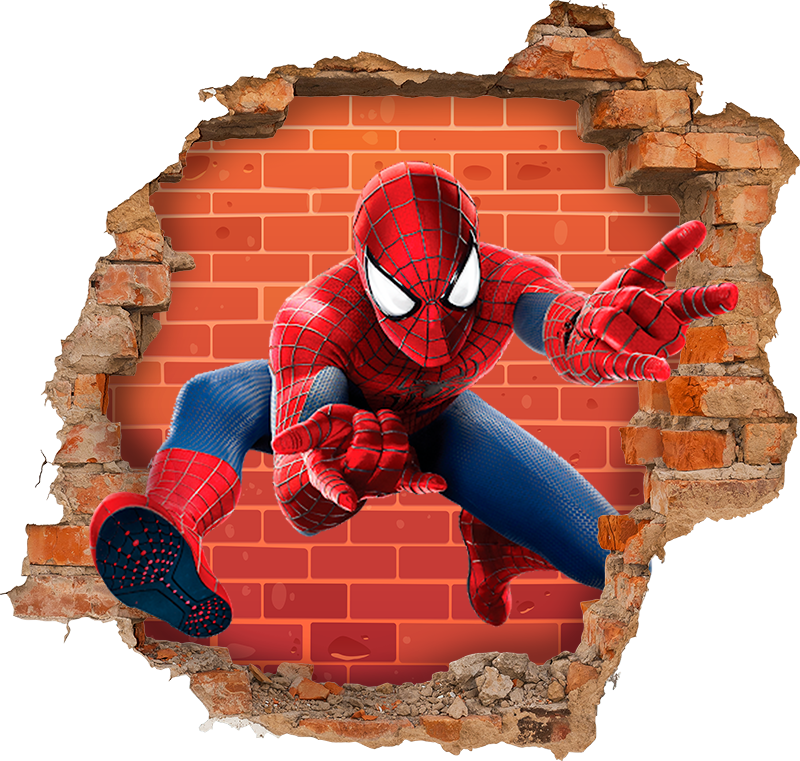 TenStickers. spider man showing fingers visual effects wall decal. 3D visual effect superhero wall sticker of spiderman to decorate the bedroom of your teen. It is original and really easy to apply.