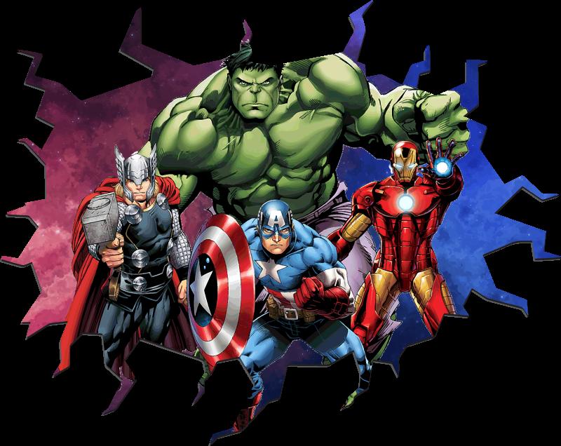 TenStickers. Autocolantes decorativos de efeitos visuais Vingadores 3d. autocolante decorativo de parede com efeitos visuais de super-heróis vingadores 3d caracterizado com diferentes personagens de heróis de filmes e videogames.