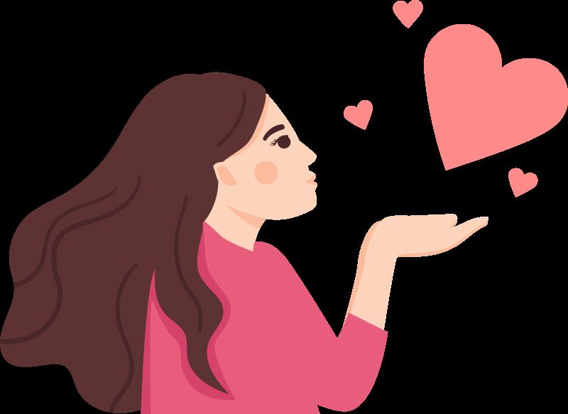 TENSTICKERS. 女性の心を吹く人デカール. 10代の部屋を飾るためにかなり女性人格壁アートデカール。このデザインは、手から空中にハートの形を吹く女性を描いています。