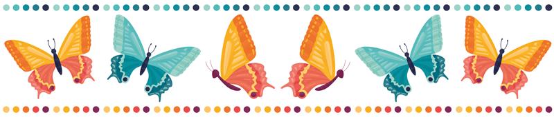 TenVinilo. Cenefa adhesiva mariposas naranjas y azules. Cenefa adhesiva infantil con mariposas naranjas y azules para colocar en la habitación de tu hijo. Elige medidas ¡Envío a domicilio!