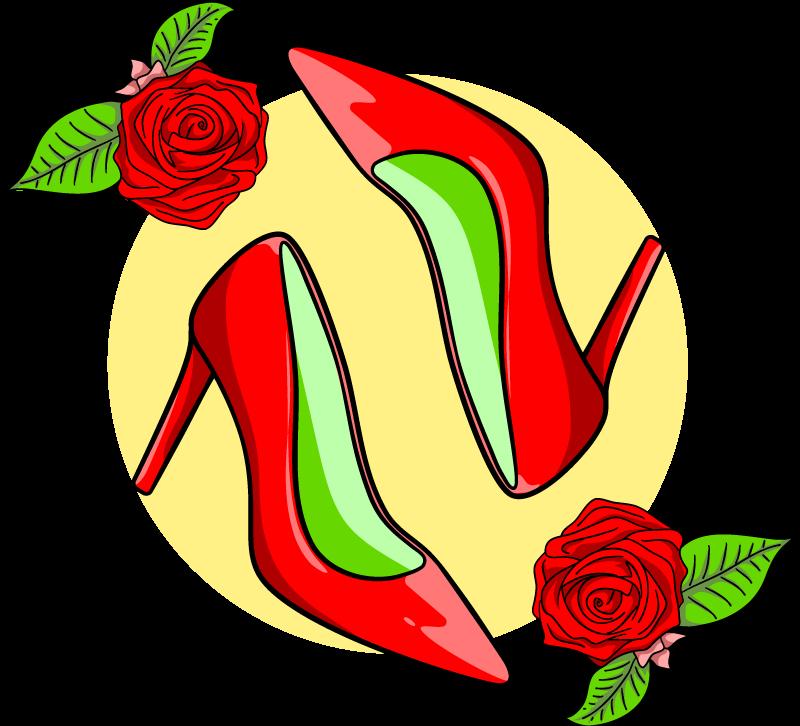 TENSTICKERS. ハイヒールの花と花の壁のステッカー. シンプルな装飾壁ステッカー。デザインは丸い背景の表面にバラの花が付いたハイヒールのペアです。適用が簡単で高品質。