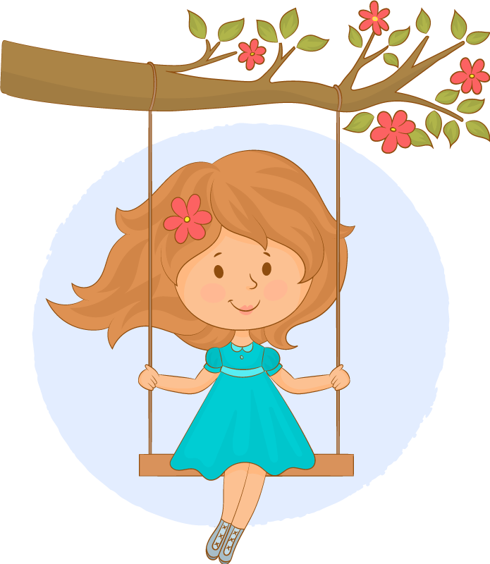 TenStickers. Tree and swing tree wall decal. Decorative tree wall art sticker created with the design of a girl on  swing hanged on a tree. The design  is suitable for children bedroom space.