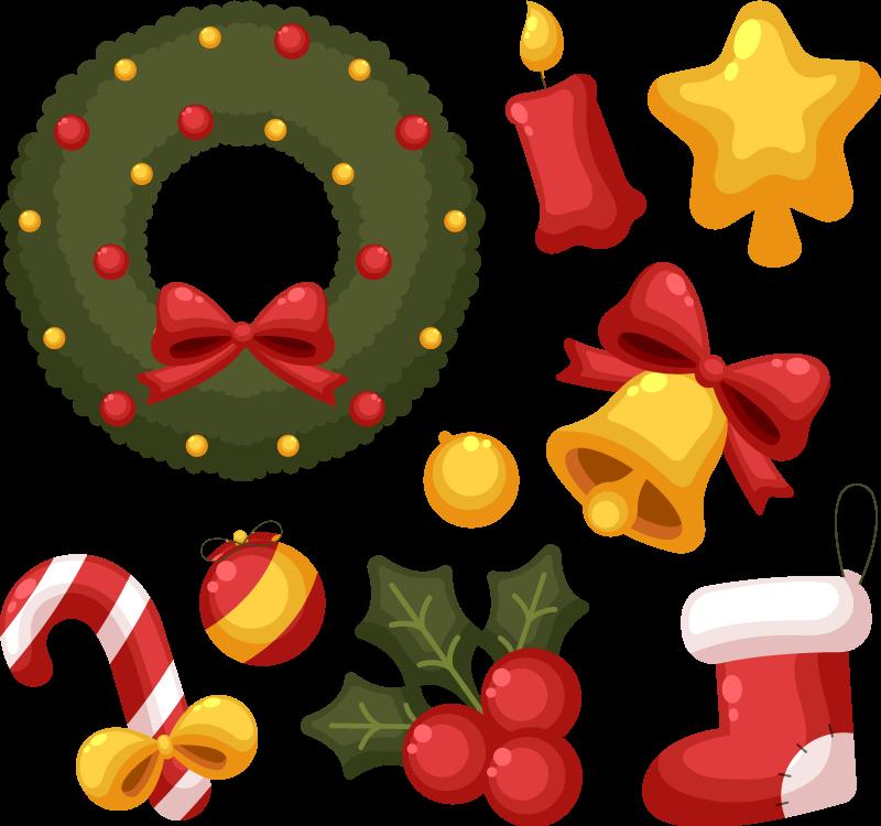 TenStickers. Sticker Vitre Noel Pack de variétés de noël. Quels sont les ornements nécessaires pour la décoration de noël. Dans cet autocollant de pack de noël qui contient différents motifs ornementaux.