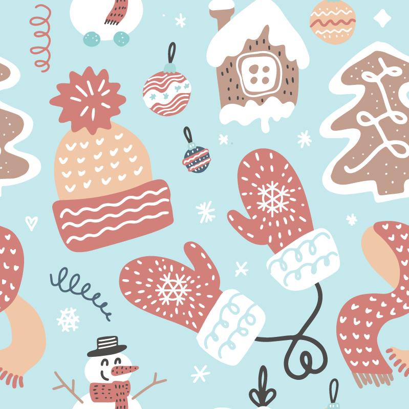 TenVinilo. Vinilo mueble motivos navideños. Papel adhesivo para muebles navideño de tonos azulados pastel y con motivos navideños para decorar. Fácil de retirar ¡Envío a domicilio!