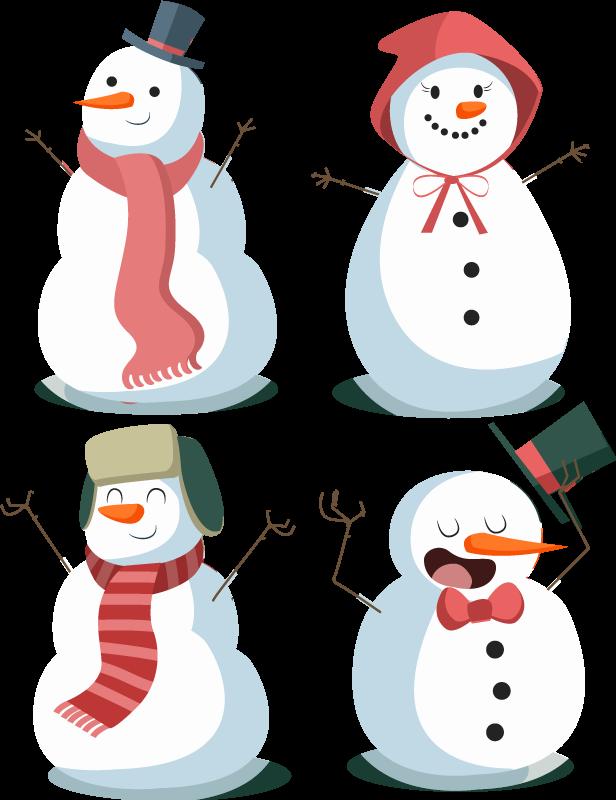 TenVinilo. Vinilos navideños 4 muñecos de nieve bonitos. Vinilos navideños de muñecos de nieve con diferente vestimenta y posiciones para decorar tu casa. Fácil de retirar ¡Envío a domicilio!