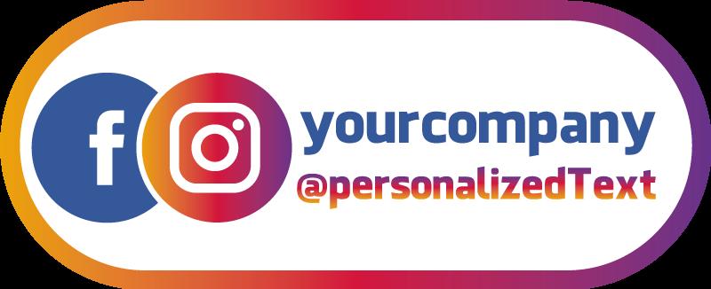 TenStickers. Adhesif Vitrine Facebook instagram. Personnalisez votre entreprise avec votre pseudo de médias sociaux à l'aide de notre autocollant de vitrine avec logo facebook personnalisé.