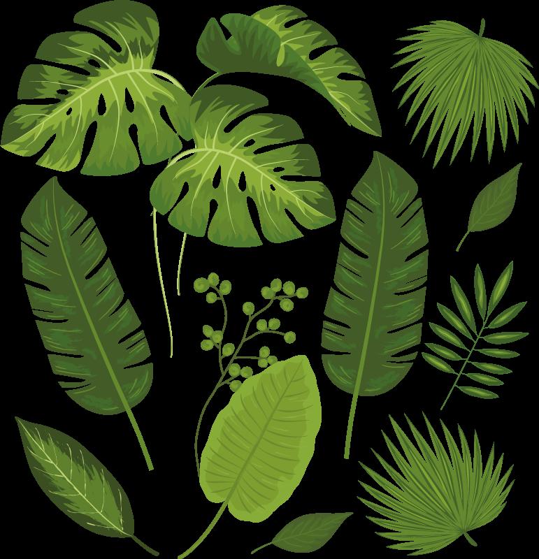 TENSTICKERS. さまざまな葉の植物デカール. さまざまな葉が付いた素晴らしい植物ステッカーで、自然な緑の雰囲気を完全に感じてください。
