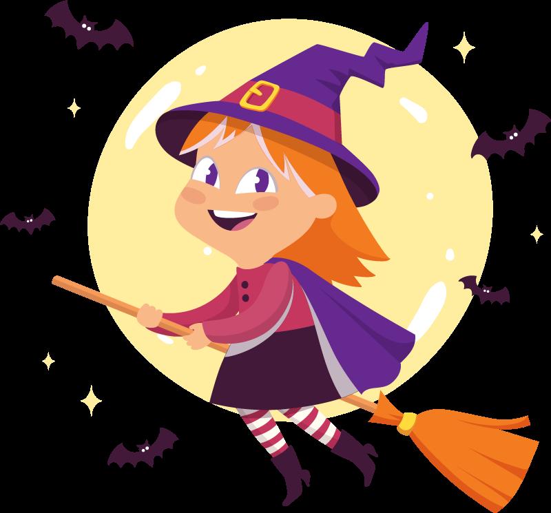 TENSTICKERS. ほうきとコウモリの魔女ハロウィーンの壁のステッカー. 子供のための例示的な魔女ハロウィーンのデカール。かわいい衣装とコウモリが飛び交う小さな魔女イラスト。適用が簡単で、自己接着性があります。