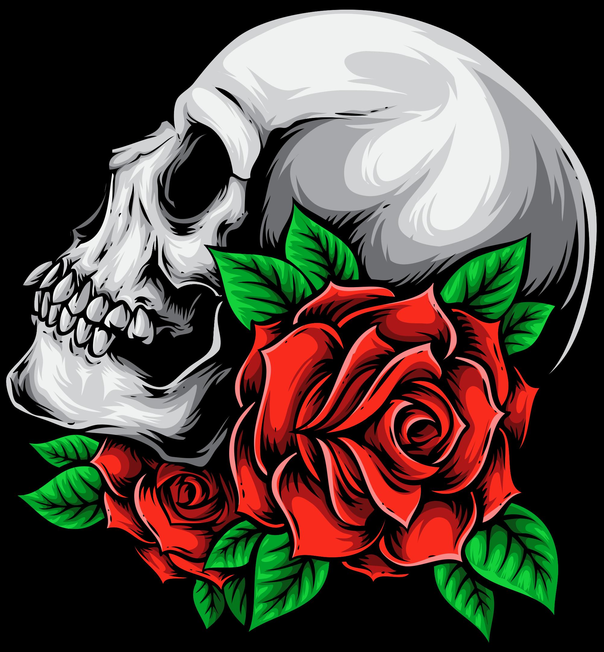 TenStickers. Autocolantes decorativos de halloween Caveira e flores. autocolante de caveira com flores para decorar o espaço da casa para o dia das bruxas. Um desenho do crânio de aparência assustadora de uma pessoa morta com uma rosa.
