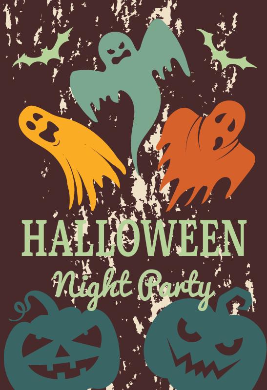 TENSTICKERS. ハロウィーンの夜の活動ハロウィーンの壁のステッカー. スペースに飾られた装飾的なハロウィーンフェスティバルパーティーステッカーを使用して、友達やゲストの家をハロウィーンパーティーに招待してください。