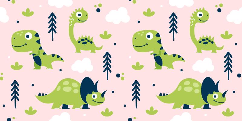 TENSTICKERS. 家具のピンクの背景デカールに小さな緑の恐竜. 小さな緑の恐竜の動物の家具のステッカー。デザインには小さな恐竜のさまざまなデザインが含まれており、子供の寝室に適しています。