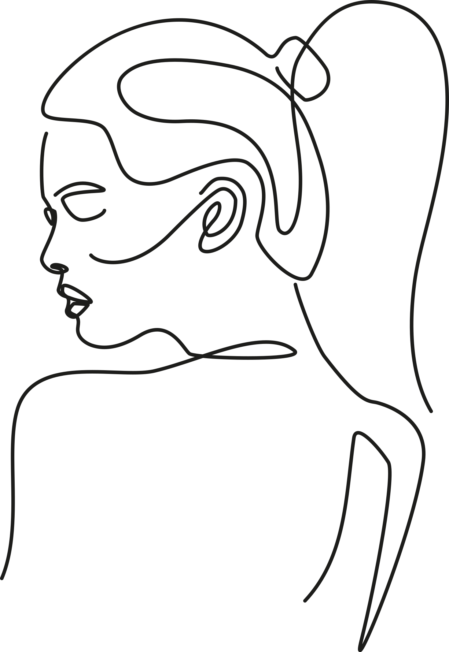 TENSTICKERS. ショップの人々のデカールのための女性のエレガントなラインアートスタイル. 芸術的なウォールステッカー、女性らしさのすべての美しさを強調するデザインで描かれた、後ろから見たエレガントな若い女性の絵