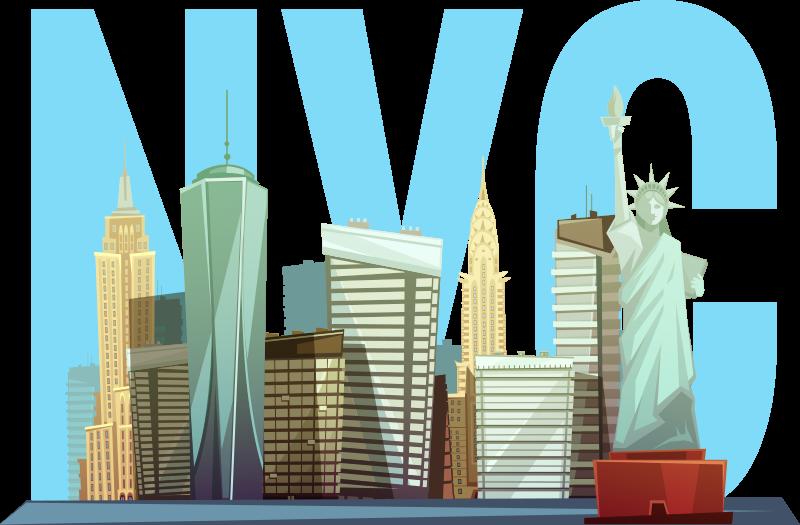 TenStickers. New York stickers Cartoon nyc skyline. Decoratieve new york city skyline sticker om elke ruimte te versieren met de symbolische voorstelling van de verenigde staten. Origineel en gemakkelijk aan te brengen.