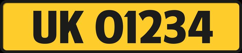 TENSTICKERS. パーソナライズされたナンバープレートカーデカール. 高品質のビニール製の装飾的な車のナンバープレートデカール。黄色の背景に車両番号の黒いテキストイラストが描かれています。