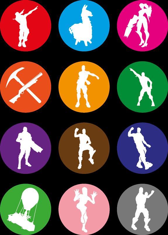 TenStickers. Muurstickers games Fornite silhouette multipack. Decoratieve fortnite videogame karakter sticker om op elk vlak oppervlak te plakken. Het ontwerp bevat het silhouet van verschillende fortnite-personages.