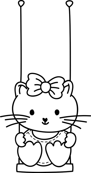 Dessin Balançoire sticker dessin fillette balançoire - tenstickers