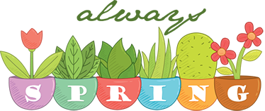"""TenStickers. Sticker altijd lente bloemen. Een muursticker van 4 vrolijke bloemen in een bloempot met hierbij de tekst """"Always Spring"""". Een leuk idee voor het decoreren van uw woning."""