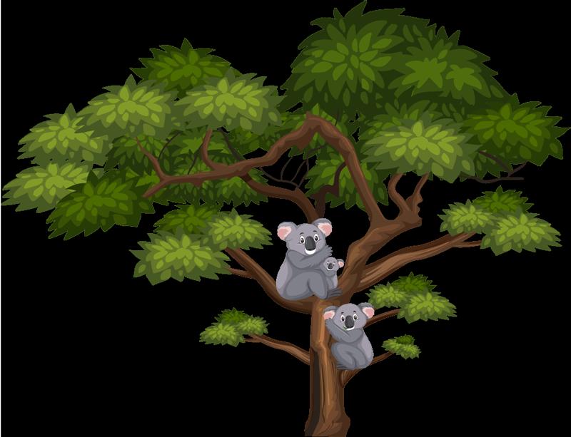 TENSTICKERS. コアラと木の壁のステッカー. 子供のための幸せな実例となる動物のステッカー。デザインはコアラのある緑の大きな木で、若い人たちは木の枝に避難しています。