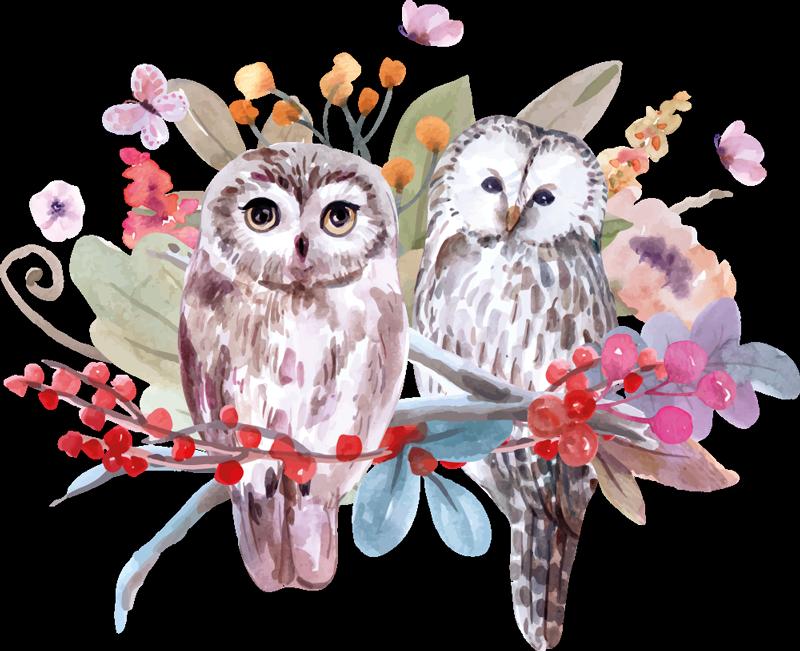 TenStickers. Muurstickers vogels Boom met dieren. Twee uilen die zich op een mooie bloem bevinden. Deze decoratieve uilen en bloemen sticker zou een leuk idee zijn om de kamer van kinderen te verfraaien en het kan aan elke behoefte worden aangepast.