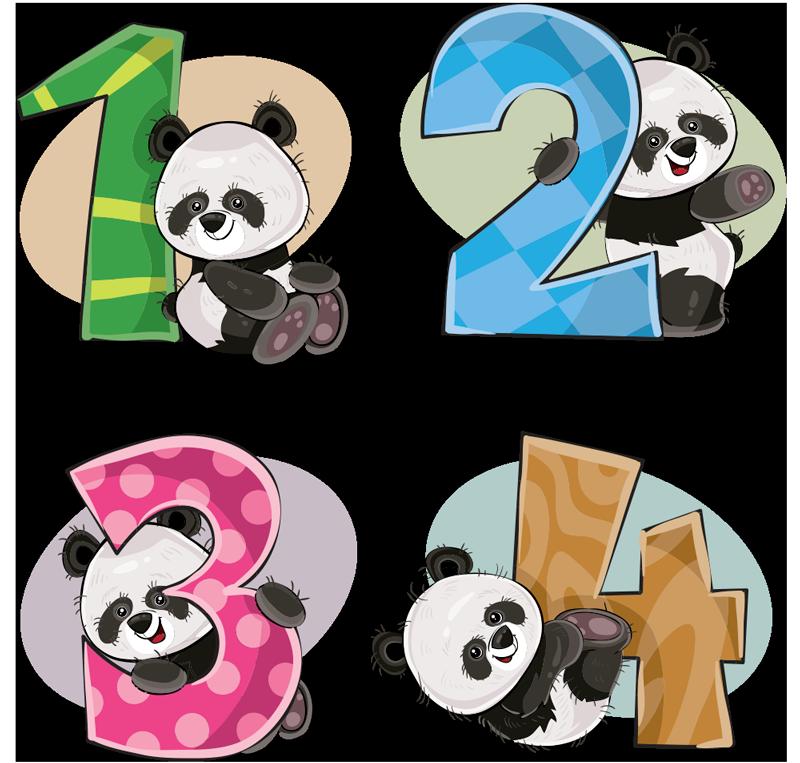 TENSTICKERS. 4パンダの教育ステッカー. 1、2、3、4の数字が付いた4つのパンダを表すキッズウォールアートステッカー。希望のスペースに合わせて任意のサイズで選択できます。