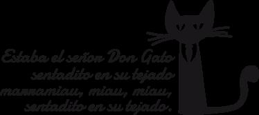 TenVinilo. Vinilo infantil canción don gato. Adhesivo de corte de las primeras estrofas de la popular tonada del señor don gato. Una manera de recordarles viejas melodías a tus hijos.