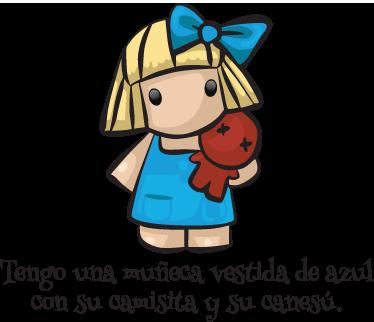 TenVinilo. Vinilo infantil muñeca vestida azul. Adhesivo en color donde se representa el primer verso de la conocida melodía infantil.