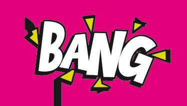 """TenStickers. Autocolante portátil comic """"bang"""". Autocolante com onomatopeia """"bang"""". Sticker com ilustração estilo livros aos quadradinhos. Vinil decorativo para portáteis, tablets ou até paredes."""