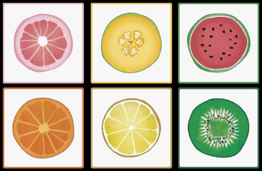 TenStickers. μεταφορά τεμαχισμένων πλακιδίων φρούτων. αυτό το σχέδιο αυτοκόλλητων πλακιδίων διαθέτει φέτες γκρέιπφρουτ, καρπούζι, πορτοκάλι, ακτινίδιο, πεπόνι πεπονιού και λεμόνι σε λευκό φόντο.