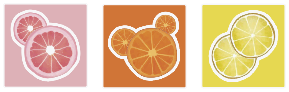 TENSTICKERS. スライスしたフルーツタイルの転送. これらの鮮やかな色のタイルステッカーは、黄色、オレンジ、ピンクの背景にスライスされたレモン、オレンジ、グレープフルーツが特徴です。