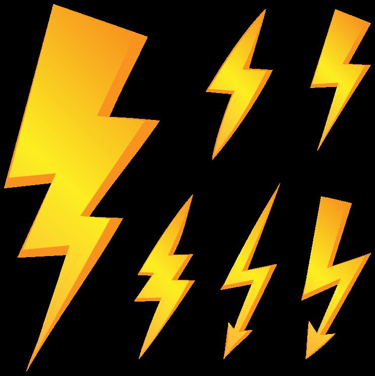 TenStickers. Vormen stickers Bliksem. Bliksem muursticker met geometrische textuur die blikseminslag illustreert, het ontwerp is gemaakt in geel. Het product is klevend, origineel en gemakkelijk aan te brengen.