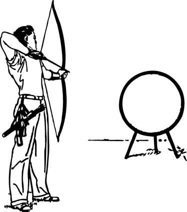 TenVinilo. Vinilo arquero y diana mac. Adhesivo de un lanzador profesional con arco apuntando a una diana que ocuparía el logotipo de tu portátil. Diseño pensado especialmente para dispositivos apple.*En función del tamaño del dispositivo las proporciones y el diseño del vinilo pueden variar ligeramente.