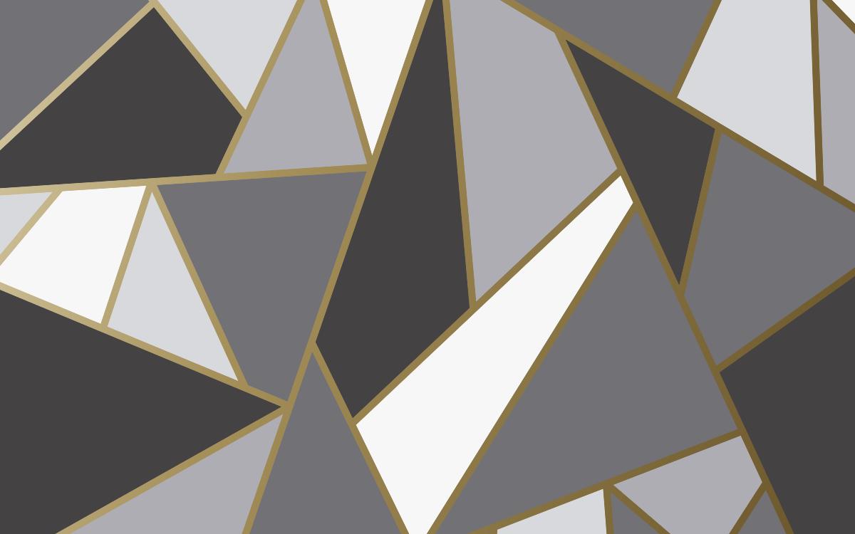 TenStickers. Adesivo per mobile Triangolo geometrico. Adesivo per mobili a triangolo geometrico. Il design comprende varie forme di triangoli in colore grigio, nero e bianco. è originale e adesivo.