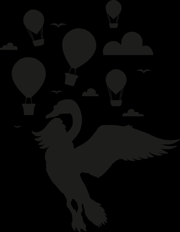 TenVinilo. Vinilo bebé cisne con globos estilo nórdico. Hermoso vinilo bebé con diseño de un globo aerostático, nubes y un cisne en estilo nórdico perfecto para tu pequeño ¡Elige color y medidas!