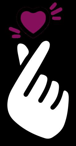 TenStickers. Stickers voor laptop K-pop hand klik. Mooie laptop hand klik en hart sticker met het ontwerp van een hand. Het ontwerp toont een vingerklik en het heeft ook een hartvorm. Origineel en gemakkelijk aan te brengen.