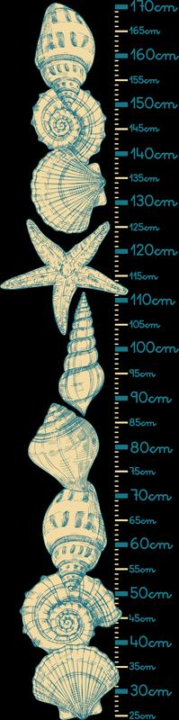 TenVinilo. Vinilo infantil medidor de conchas marinas. Decora el dormitorio de su hijo con nuestro vinilo infantil medidor de conchas marinas con calibración exacta ¡Míralo crecer de forma única!