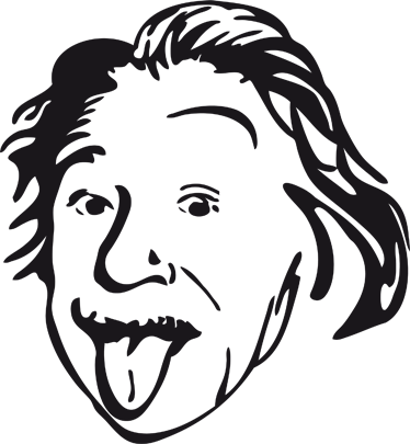 TenStickers. Naklejka na laptop Einstein język. Naklejka dekoracyjna, która przedstawia portret Alberta Einsteina, którym możesz udekorować Swojego laptopa.