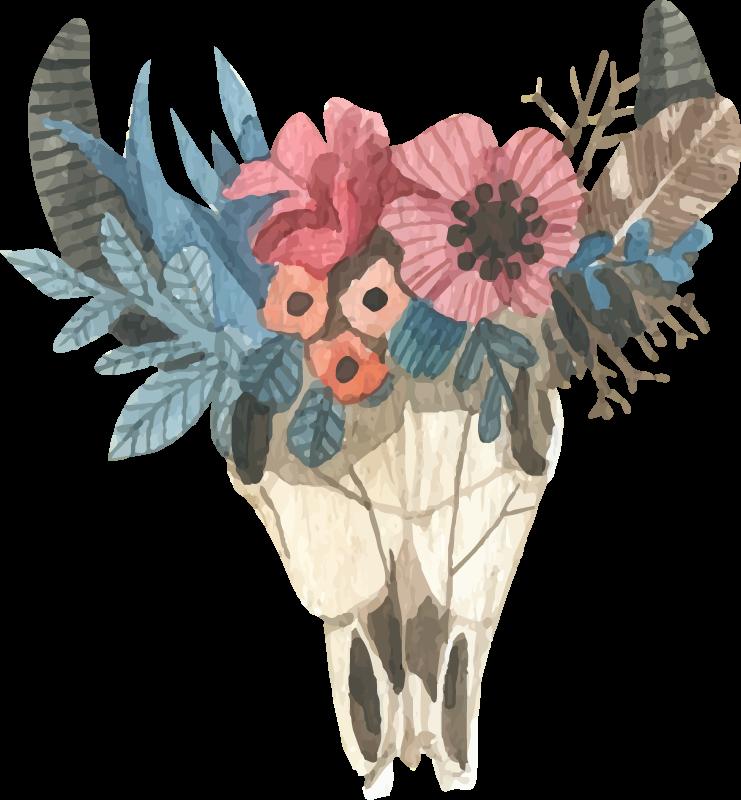 TenVinilo. Vinilo de animales cráneo toro con ramo de flores. Vinilo de flores de acuarela ornamental para dormitorio con cráneo de toro y flores con toque nórdico. Elige las medidas que desees ¡Envío express!