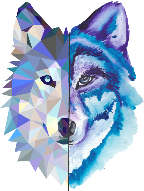TenStickers. Trendy wild wolf face wild animal sticker. Beautiful geometric abstract design of a wolf's  face. A  creative wild animal art design to decorate living room.  Easy to apply and adhesive.