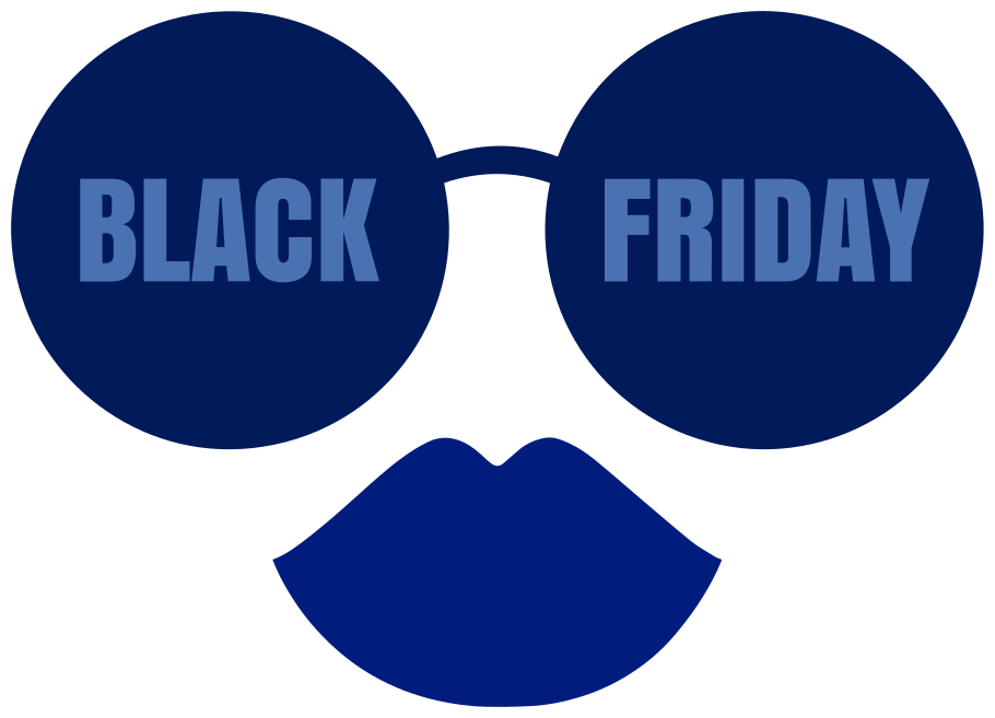 TENSTICKERS. メガネと唇のデカールとブラックフライデーのデザイン. メガネと唇の形でデザインされたブラックフライデーのセールスステッカー。お好みの平らな面、窓、ドア、ショーケースに塗ることができます。