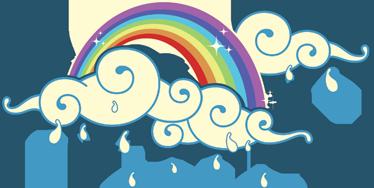 TenVinilo. Vinilo portátil nubes arco iris. Bonito diseño adhesivo para tu ordenador en el que se representa dos nubes de lluvia. Personaliza y haz destacar tu dispositivo.