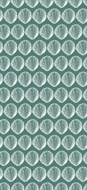 TenStickers. ρετρό αυτοκόλλητα μοτίβα θαλασσινών. διακοσμητικό ρετρό μοτίβο θαλασσινών κοχυλιών ψυγείο για να ομορφαίνει τον χώρο της πόρτας του ψυγείου σας. σχέδιο πράσινο φόντο γεμάτο με φύλλα κοχυλιού.