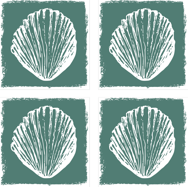 TENSTICKERS. レトロな貝殻パターンタイル転送. あらゆる壁のスペースのための装飾的なレトロな貝殻パターンタイルステッカー。私たちの貝殻プリントで魅力的で魅力的な機能であなたのスペースを強化します。
