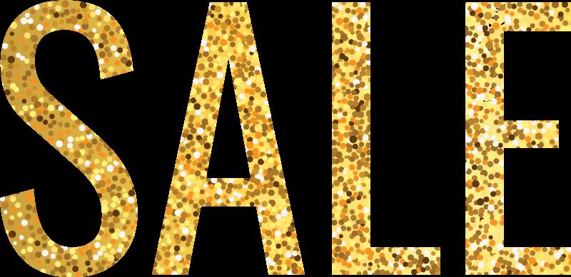 TenStickers. Adesivo per vetro Vendita glitter oro. Bella vetrofania con testo di vendita. Il design è creato con una texture glitter oro e ti piacerebbe che guardasse su qualsiasi superficie applicata.