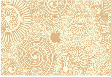 TenStickers. Sticker imprimé floral Apple. Habillez vos dispositifs Apple avec ce stickers illustrant un imprimé floral.