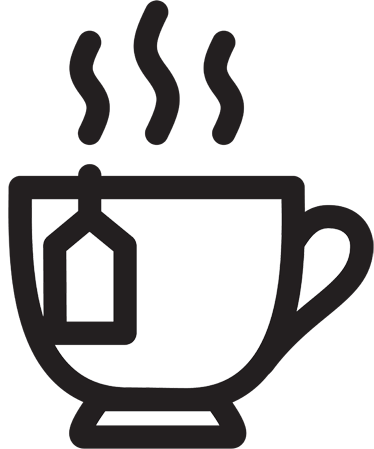 TenStickers. Tea Icon Drink Wall Sticker. Wall Stickers - Illustration of a hot cup of tea.  Decals ideal for your home or business. Suitable for cafés, bars and restaurants.
