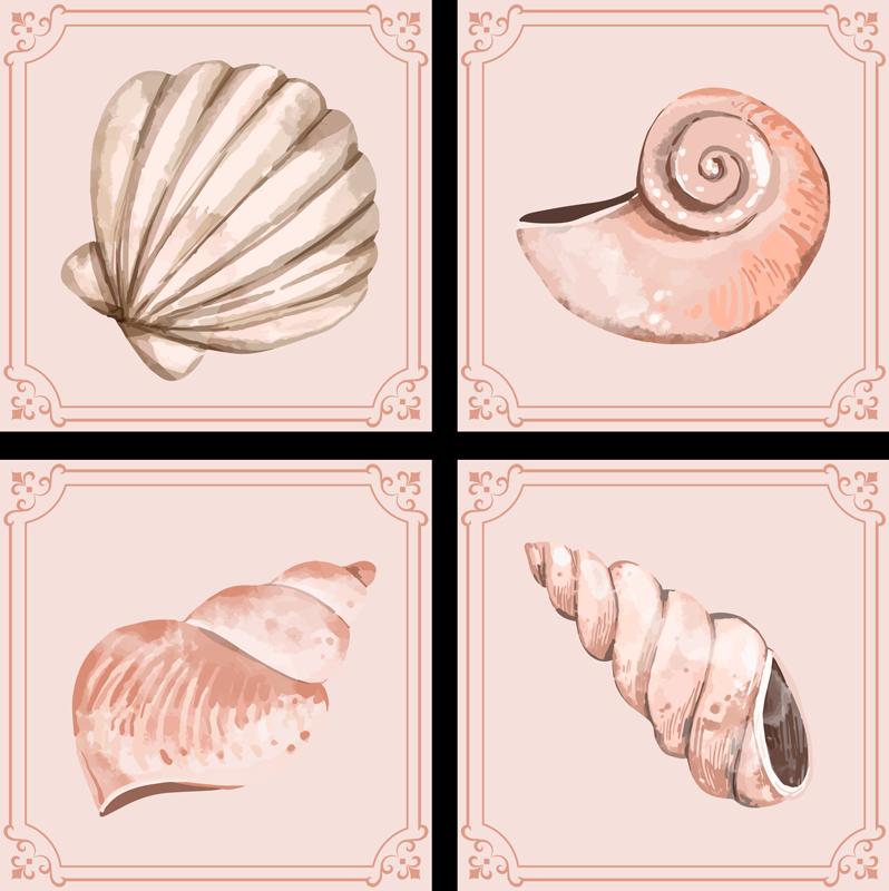 TenVinilo. Azulejos vinílicos beige de conchas marinas. Decore su casa de una manera y estilo diferente con estos azulejos vinílicos de concha que contiene diferentes patrones beige ¡Envío a domicilio!